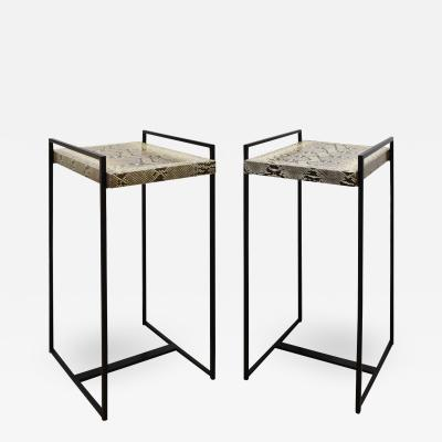 Karl Springer Karl Springer Pair Of Rare Anna Side Tables With Python Tops 1994 Signed