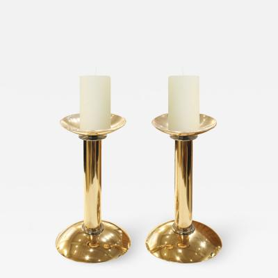 Karl Springer Karl Springer Pair of Candle Holders in Brass and Chrome 1980s