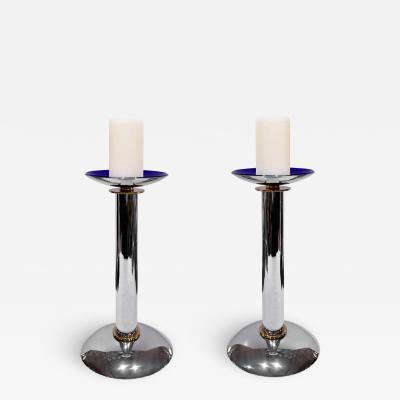 Karl Springer Karl Springer Pair of Candle Holders in Chrome and Brass Ca 1985