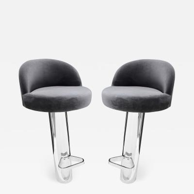 Karl Springer Karl Springer Pair of Cantilevered Stainless Steel Bar Stools 1980s