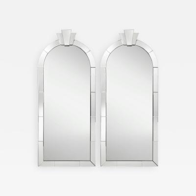 Karl Springer Karl Springer Pair of Dome Top Art Deco Mirrors with Up Lights 1980s