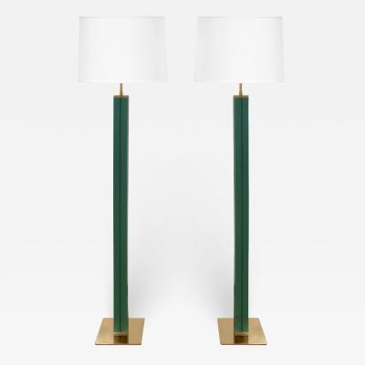 Karl Springer Karl Springer Pair of Floor Lamps in Green Emu Leather 1970s