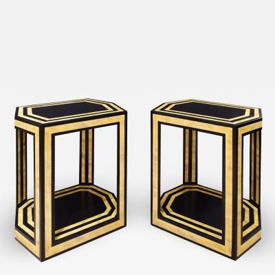 Karl Springer Karl Springer Pair of Hexagonal End Tables in Black and Bone Lacquer 1970s