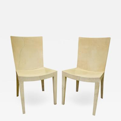 Karl Springer Karl Springer Pair of JMF Chairs in Lacquered Goatskin 1970s