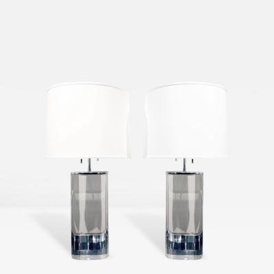 Karl Springer Karl Springer Pair of Large Oval Lucite Table Lamps 1970s
