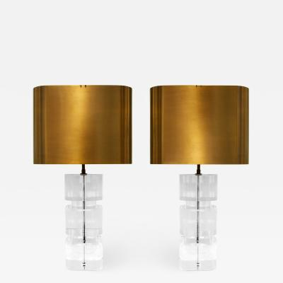 Karl Springer Karl Springer Pair of Lucite Table Lamps with Bronze Shades 1980s Signed