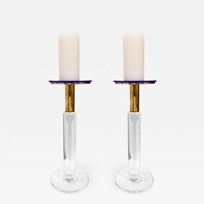 Karl Springer Karl Springer Pair of Rare Prototype Candle Holders In Lucite And Brass Ca 1985