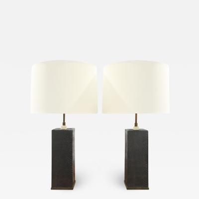 Karl Springer Karl Springer Pair of Table Lamps In Bronze With Black Cobra 1970s