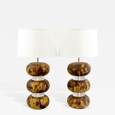 Karl Springer Karl Springer Pair of Tortoise Shell Lacquer Table Lamps 1970s