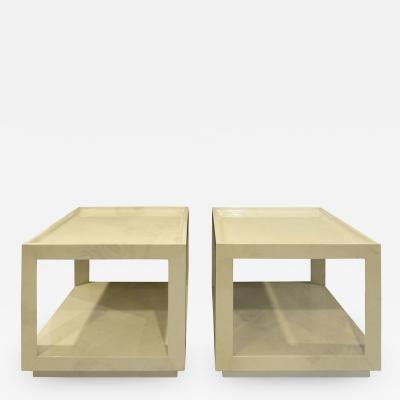 Karl Springer Karl Springer Pair of Triangular Leg End Tables in Lacquered Goatskin 1984