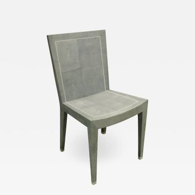 Karl Springer Karl Springer Rare JMF Chair in Shagreen with Bone Inlays 1980s Signed