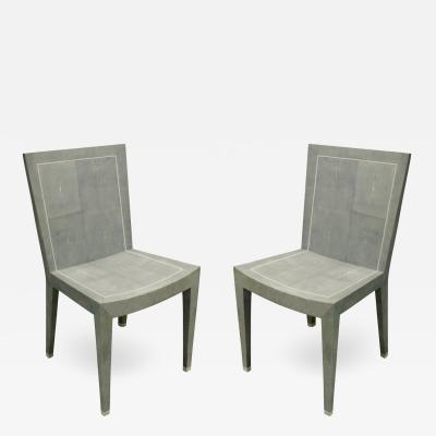 Karl Springer Karl Springer Rare Pair of JMF Chairs in Shagreen 1980s signed