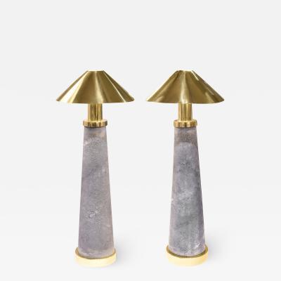 Karl Springer Karl Springer Rare Pair of Lighthouse Lamps in Shagreen and Brass 1980s