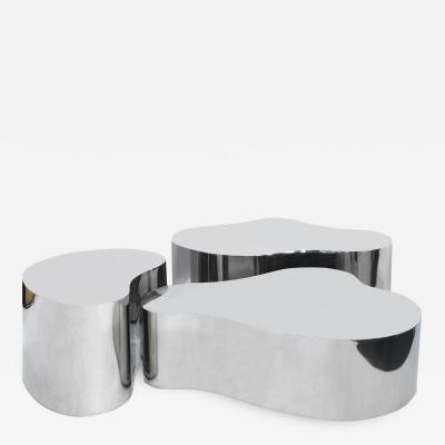 Karl Springer Karl Springer Rare Set of 3 Free Form Coffee Tables in Polished Steel 1980s