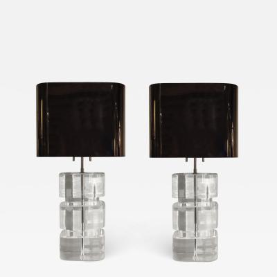 Karl Springer Karl Springer Rare and Exceptional Pair of Lucite Table Lamps 1980s signed
