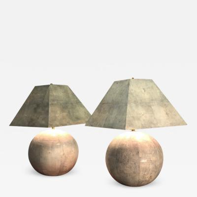 Karl Springer Karl Springer Rare and Monumental Shagreen Pair of Table Lamps