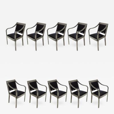Karl Springer Karl Springer Regency Dining Chairs Steel and Leather Set of Ten USA 1980s