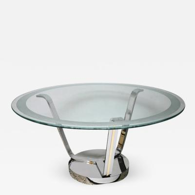 Karl Springer Karl Springer Round Dining Table in Polished Chrome Brass and Etched Glass