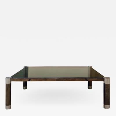Karl Springer Karl Springer Round Leg Coffee Table in Gunmetal and Chrome 1980s