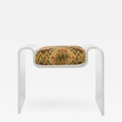Karl Springer Karl Springer Sculptural Molded Lucite Bench With Seat Cushion 1970s