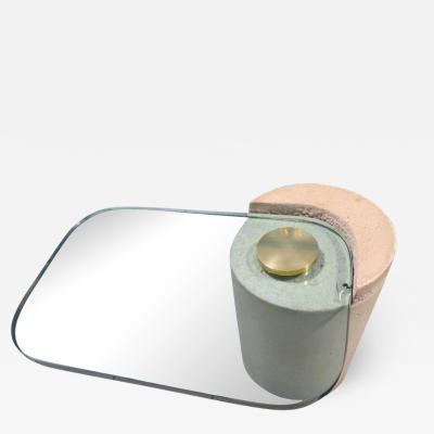 Karl Springer Karl Springer Sculpture Table Sandstone Cantilever 1980s Glass Brass Modern