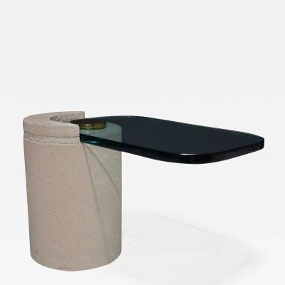 Karl Springer Karl Springer Sculpture Table in Sandstone and Brass 1980s