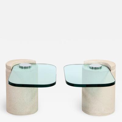 Karl Springer Karl Springer Sculpture Tables in Sandstone and Glass 1980s