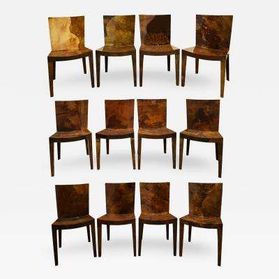Karl Springer Karl Springer Set of 12 JMF Dining Chairs In Lacquered Goatskin 1980