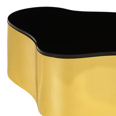 Karl Springer Karl Springer Set of 3 Free Form Coffee Tables in Polished Brass 1980s