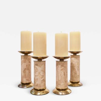Karl Springer Karl Springer Set of 4 Candle Holders in Travertine and Brass 1980s