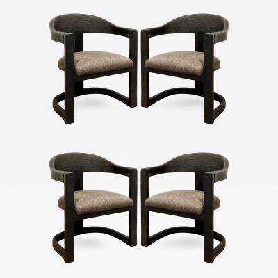 Karl Springer Karl Springer Set of 4 Embossed Ostrich Onassis Chairs 1984