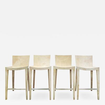 Karl Springer Karl Springer Set of 4 Goatskin JMF Bar Stools 1979