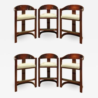 Karl Springer Karl Springer Set of 6 Onassis Bar Stools in Lacquered Bubinga 1970s
