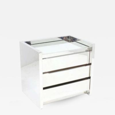Karl Springer Karl Springer Stainless Steel Night Table with Mirror Top USA 1980s