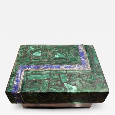 Karl Springer Karl Springer Stunning Box with Malachite and Lapis Lazuli 1970s
