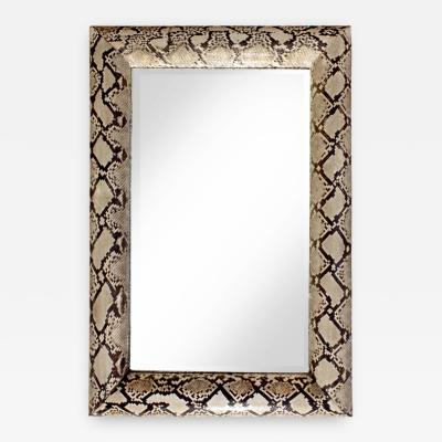 Karl Springer Karl Springer Stunning Half Round Molding Mirror in Python 1987 Signed