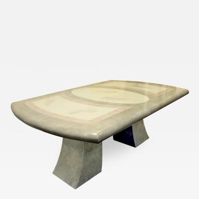 Karl Springer Karl Springer Style Extension Dining Table with Artisan Faux Goatskin 1980s