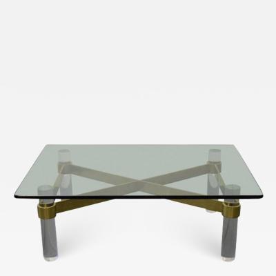 Karl Springer Karl Springer Style Lucite and Brass Coffee Table