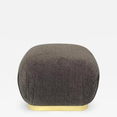 Karl Springer Karl Springer Style Souffl Pouf Ottoman with Brass Base