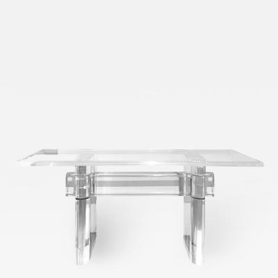 Karl Springer Karl Springer Trestle Style Console Table in Lucite 1980s Signed