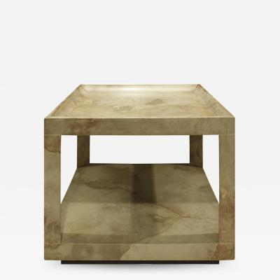 Karl Springer Karl Springer Triangular Leg Coffee End Table in Goat Skin 1970s