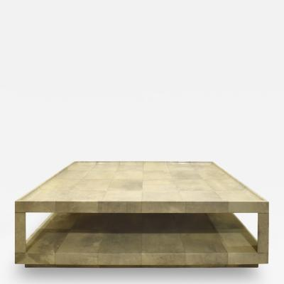 Karl Springer Karl Springer Triangular Leg Coffee Table In Lacquered Goatskin 1980s