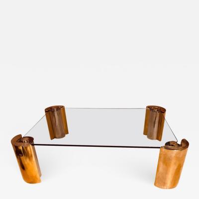 Karl Springer Karl Springer Two Tone Modern Cylinder Base Coffee Table
