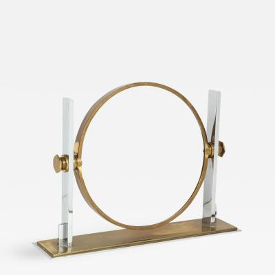 Karl Springer Karl Springer Vanity Mirror Brass Polished Steel Revolving USA 1980s