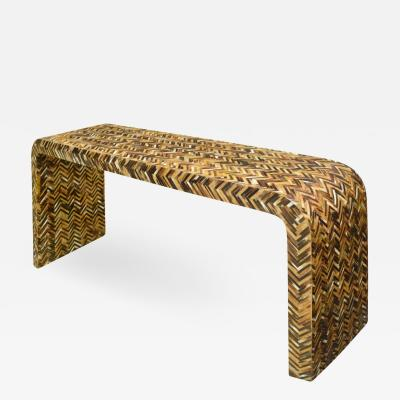 Karl Springer Karl Springer Waterfall Console Table in Lacquered Tessellated Horn 1970s