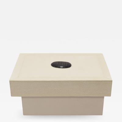Karl Springer Karl Springer White Snake Skin Lidded Box with Semi Precious Stone 1970s