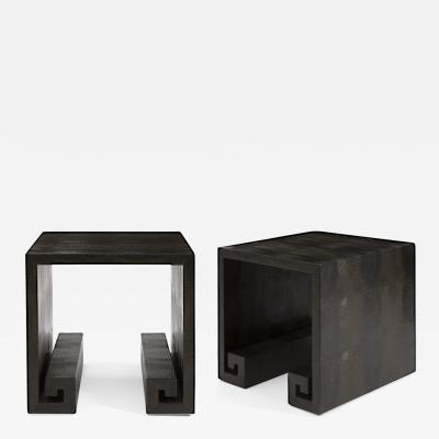 Karl Springer LTD A Pair of Modern Embossed Leather Greek Key End Tables