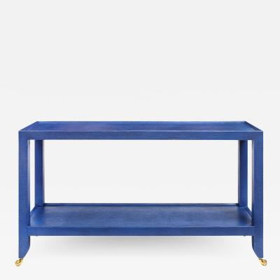 Karl Springer LTD Karl Springer Duchess Console in Blue Lacquered Linen 1990s Signed