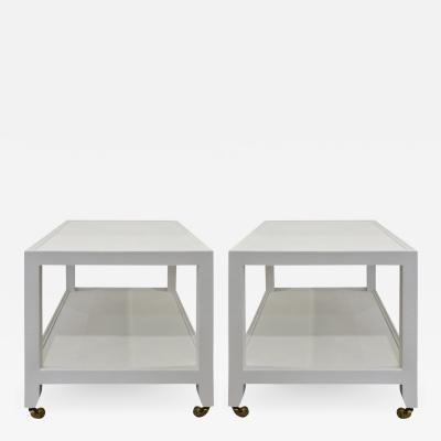 Karl Springer LTD Karl Springer Pair of End Tables in Lacquered Linen ca 2000 Signed