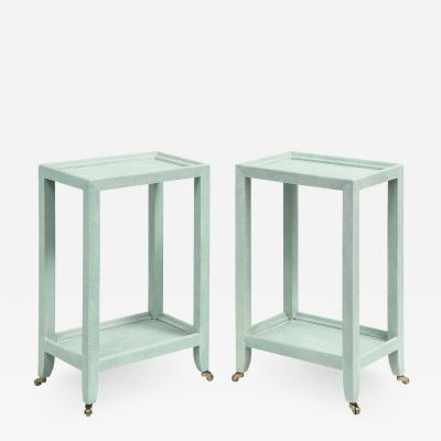 Karl Springer LTD Karl Springer Pair of Telephone Style Tables in Mint Shagreen 2002 Signed